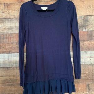 Matilda Jane blue sweater w/ ruffle, size medium